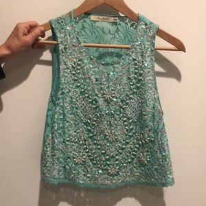 Tops - Jeweled/ pearled turquoise lace crop top